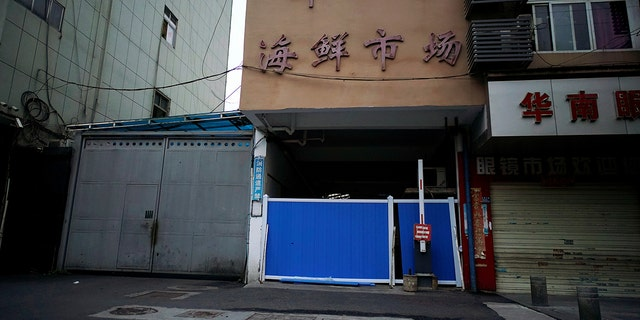 A blocked entrance to Huanan seafood market, where the coronavirus that can cause COVID-19 is believed to have first surfaced, is seen in Wuhan, Hubei province, China on March 30, 2020.