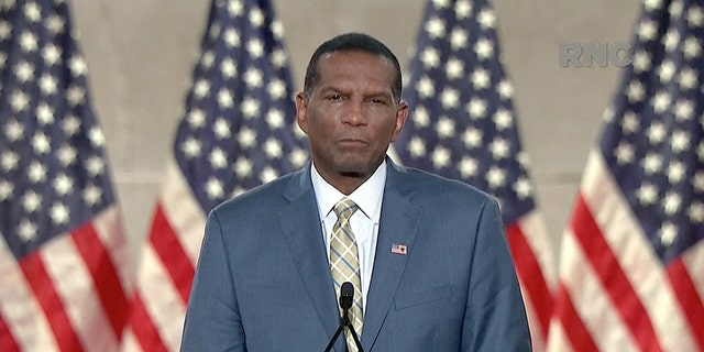 Former NFL player Burgess Owens, Republican nominee for Utah's 4th Congressional District, speaks during the largely virtual 2020 Republican National Convention broadcast from Washington, August 26, 2020. 2020 Republican National Convention/Handout via REUTERS