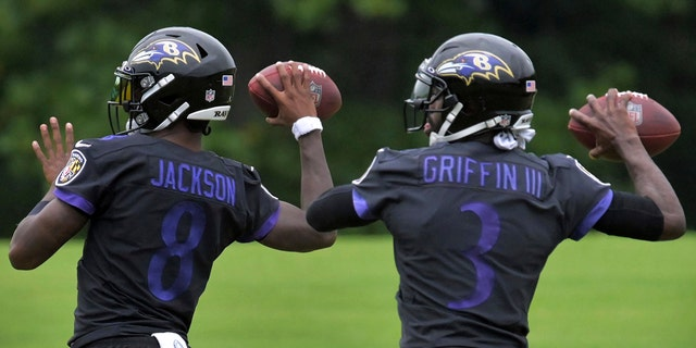 Ravens quarterback Lamar Jackson, left, was the NFL MVP. (Karl Merton Ferron/The Baltimore Sun via AP)