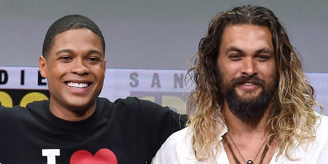 Ray Fisher and Jason Momoa on Warner Bros.  Pictures presentation during Comic-Con International 2017 in San Diego.  Momoa has expressed support for Fisher after claiming that filmmaker Joss Whedon was 'violent' and 'unprofessional' on stage.  (Photo by Kevin Winter / Getty Images)