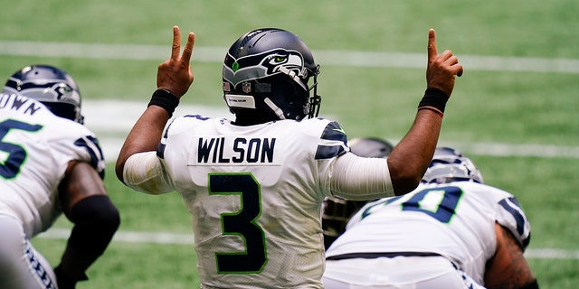 Seattle Seahawks quarterback Russell Wilson (3) calls a play against the Atlanta Falcons during the second half of an NFL football game, Sunday, Sept. 13, 2020, in Atlanta. (AP Photo/Brynn Anderson)