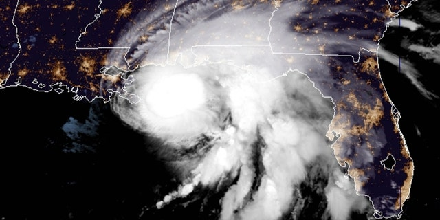 Hurricane Sally lurks off the Gulf Coast in the morning on Sept. 15, 2020.