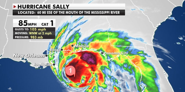 The location of Hurricane Sally as of Tuesday morning.