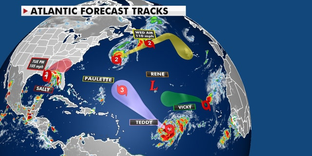 Forecast tracks of all of the current storms in the Atlantic basin.