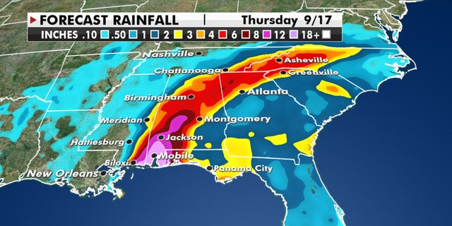 Expected rainfall amounts from Hurricane Sally.