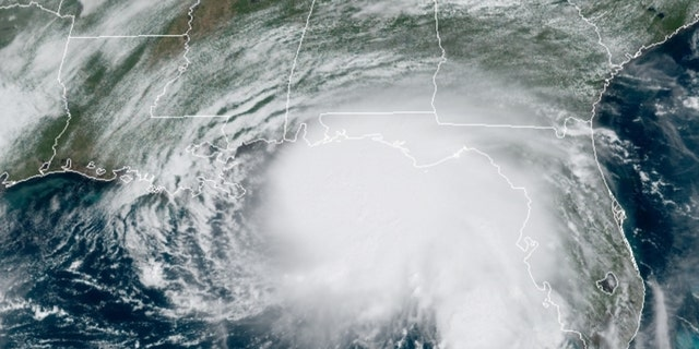 Hurricane Sally can be seen just off the U.S. Gulf Coast on Monday, Sept. 14, 2020.