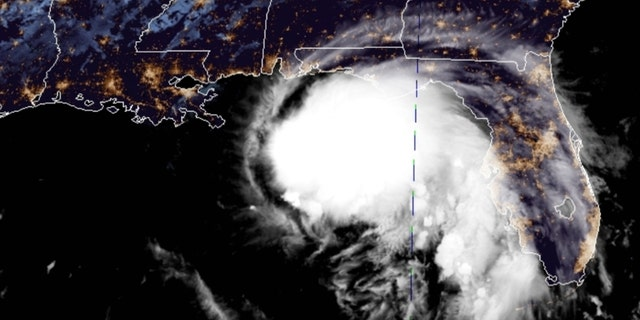 Tropical Storm Sally can be seen off the Gulf Coast on Monday, Sept. 14, 2020.