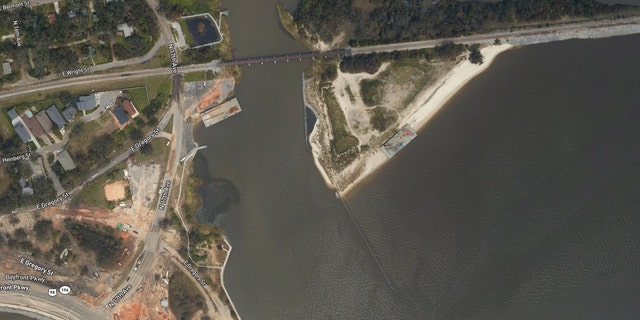 Washed-up barges in the Graffiti Bridge area of Pensacola, Fla., after Hurricane Sally roared through the region.