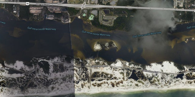 Erosion on barrier islands on Florida's Panhandle in the wake of Hurricane Sally.