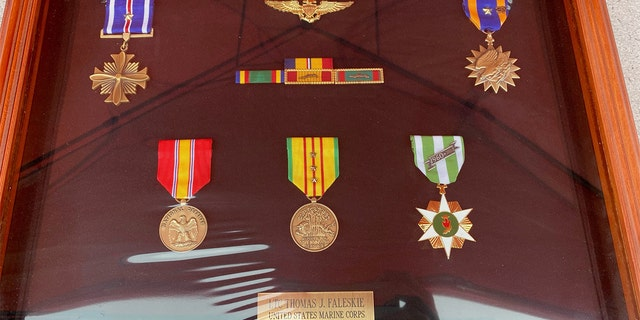 Photo shows medals awarded to Thomas Faleskie during a career in the Marines from 1958 to 1982, He served two years in Vietnam flying helicopters.