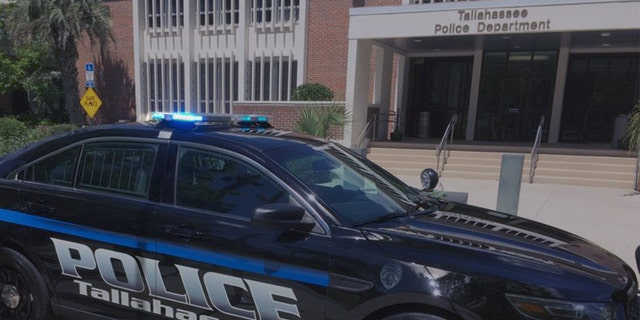 A Tallahassee police car in front of headquarters.