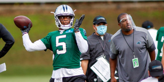 With stalwarts like Cam Newton, Greg Olsen, Luke Kuechly and Trai Turner all leaving Carolina, the Panthers are the only team with less than half of snaps last season returning, At least new quarterback Teddy Bridgewater has some familiarity with offensive coordinator Joe Brady's system, having spent the 2018 season together in New Orleans. (AP Photo/Nell Redmond, File)
