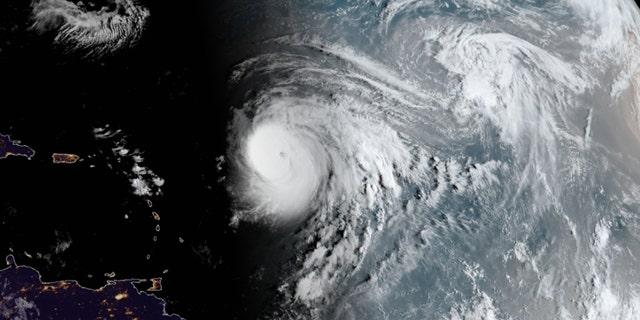 Hurricane Teddy can be seen across the Atlantic on Thursday, September 17, 2020.