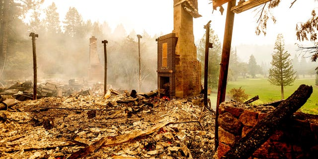 The Restaurant at Meadowood, or TRAM, was consumed in the Glass Fire. In the photo above, little more than a chimney is seen standing following the blaze in St. Helena, Calif.