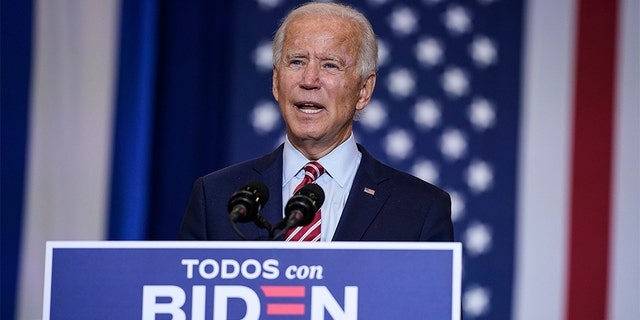 Democratic presidential nominee and former Vice President Joe Biden speaks at a Hispanic heritage event at Osceola Heritage Park on September 15, 2020 in Kissimmee, Florida. (Photo by Drew Angerer/Getty Images)