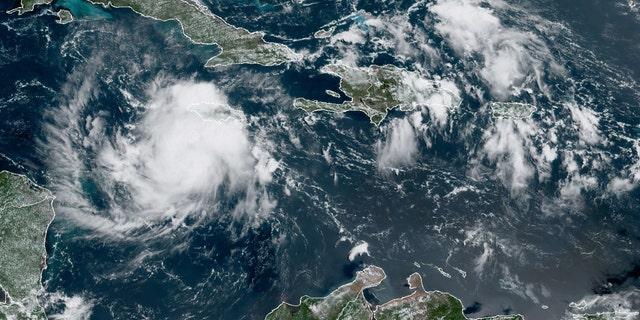 Tropical Storm Nana swirls south of Jamaica on Tuesday, Sept. 1, 2020.