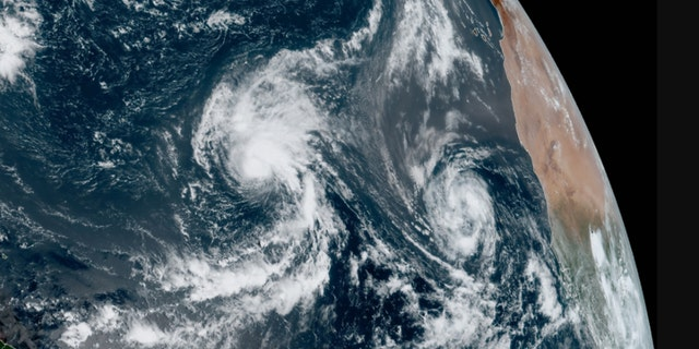 Tropical storms Rene and Paulette can be seen over the Atlantic on Tuesday, September 8, 2020.