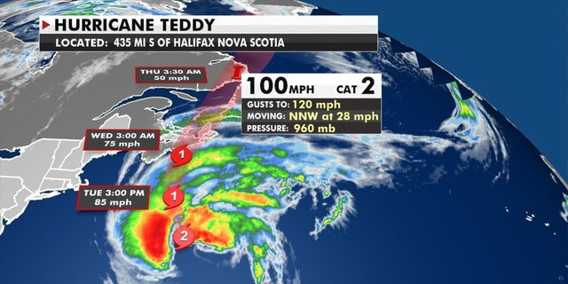 The forecast track of Hurricane Teddy.
