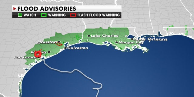 Flood advisories stretch from Texas into Louisiana as Tropical Storm Beta slowly moves along the coast.