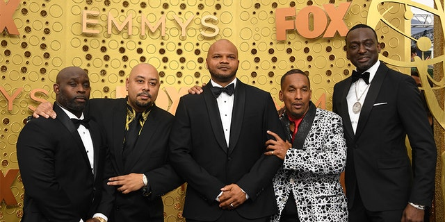The Exonerated Five, from left: Raymond Santana, Antron McCray, Kevin Richardson, Korey Wise and Yusef Salaam. They are seen at the 71st Emmy Awards at the Microsoft Theatre in Los Angeles on Sept. 22, 2019. (Getty Images)