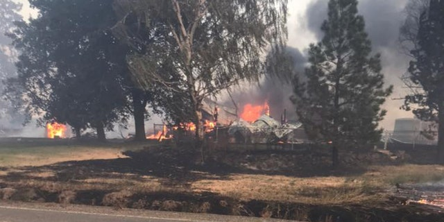"""A """"firestorm"""" was reproted in Whitman County, Wash. on Monday as a fast-moving wildfire destroyed 80% of the small town of Malden."""