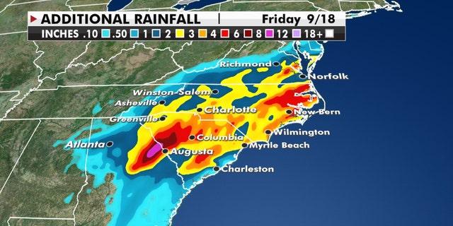 Forecast rainfall through Friday from Sally.