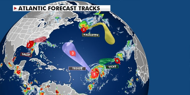 The forecast tracks for current tropical activity.
