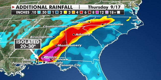 Forecast rainfall amounts from Hurricane Sally.