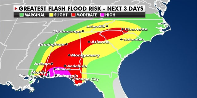 The greatest risk of flash flooding from Hurricane Sally.