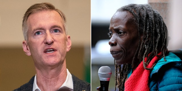 Portland Mayor Ted Wheeler, left; City Commissioner Jo Ann Hardesty, right (Getty Images)