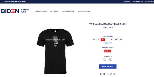 "The shirt feature the phrase ""Will You Shut Up, Man"" emblazoned across a black-and-white image of Trump."