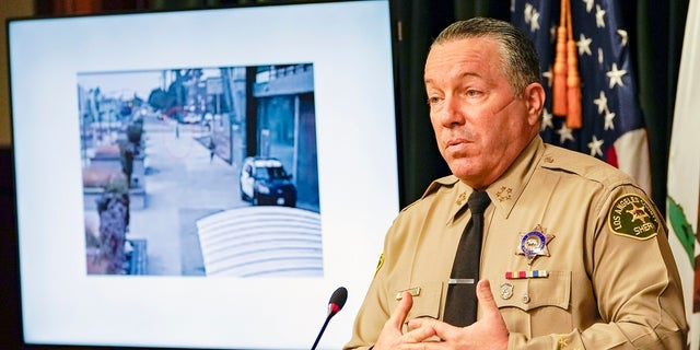 Los Angeles County Sheriff Alex Villanueva comments on the investigation of the shooting of two deputies during a news conference at the Hall of Justice in downtown Los Angeles on Thursday. (Associated Press)