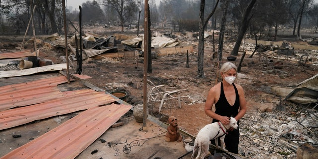 Eden McCarthy destroyed his dog Hina in the rubble of his home by the Alameda Fire, Ore. On Thursday.  (AP) was in