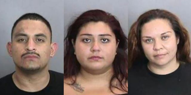 Omar Sanchez, left, Yesenia Escareno, center, and Adriana Gomez were arrested after Jose DeJesus Berrelleza died trying to prevent his work van from being stolen Tuesday morning, authorities say. (Anaheim Police)