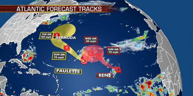 The forecast tracks of Paulette and Rene. (Fox News)