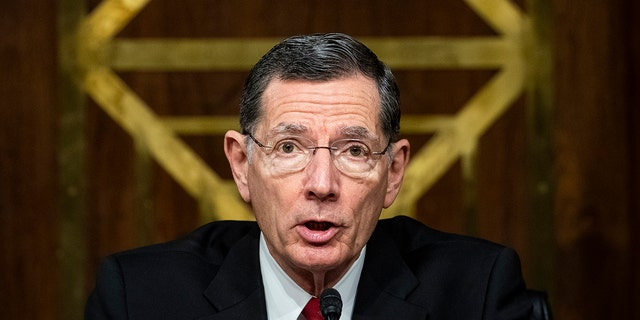 """Sen. John Barrasso (R-WY), former chairman of the Senate Environment and Public Works Committee, speaks during a hearing, May 20, 2020 on Capitol Hill in Washington, D.C. Barrasso slammed the Biden administration over the situation on the border in an interview with """"Sunday Morning Futures."""" (Photo by Al Drago-Pool/Getty Images)"""