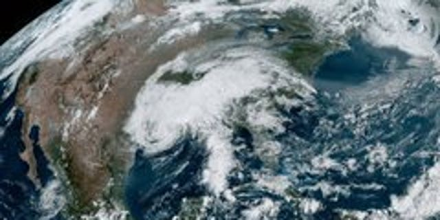 NOAA satellite image shows the remnants of Tropical Storm Beta.