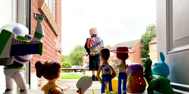"The touching tribute was inpsired by the emotional scene in ""Toy Story 3,"" when character Andy leaves home for college."