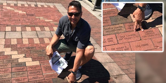 Twenty-one years after his father's trip, Rob Conzo followed in his wake and found the brick in honor of his dad's crew in Baltimore Harbor.