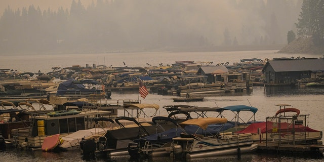 Smoke from the Creek Fire fills the air over a marina on Monday, September 7, 2020 in Shaver Lake, California.