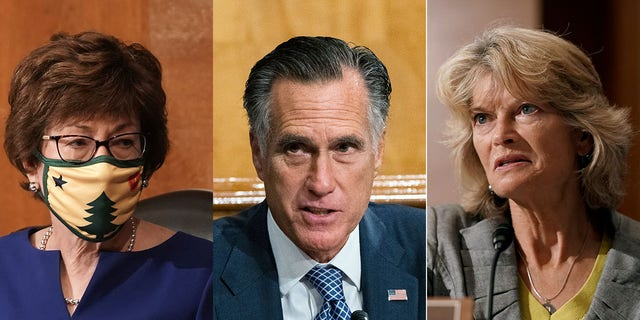President Trump's ability to successfully replace Supreme Court Justice Ruth Bader Ginsburg on the bench could hinge on the support of Republican senators like Susan Collins of Maine (left), Mitt Romney of Utah, and Lisa Murkowski of Alaska. (Associated Press)