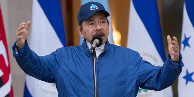 Nicaragua's President Daniel Ortega delivers a speech during a ceremony to mark the 199th Independence Day anniversary, in Managua, Nicaragua September 15, 2020. (Nicaragua's Presidency/Cesar Perez/Handout via REUTERS)