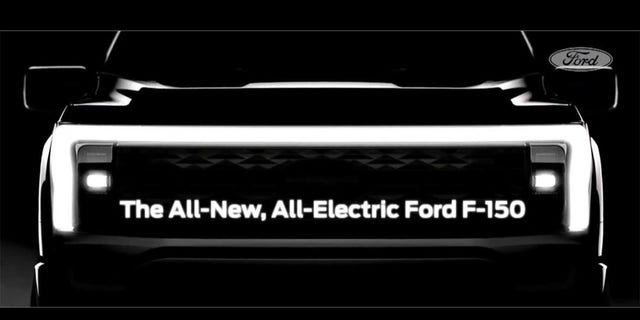 Teaser image shows the front of the first electric F-150.