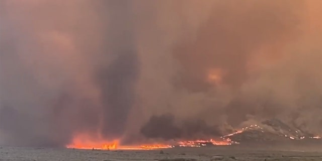 """A fire whirl can be seen as """"extreme fire behavior"""" was reported Monday from the Slink Fire in Mono County, Calif."""