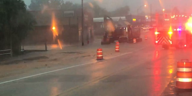 Flooding in Tishomingo, Okla. on Tuesday, Sept. 1, 2020, after heavy rains in the area.