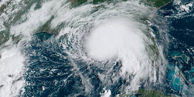 Tropical Storm Sally can be seen just off the U.S. Gulf Coast on Monday, Sept. 14, 2020.