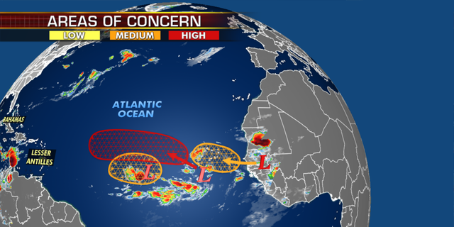 At least one of these storm systems could get near the U.S., according to computer models. (Fox News)