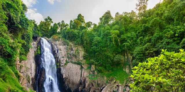 Haew Narok Waterfall in Khao Yai National Park in Thailand is a popular destination for guests.