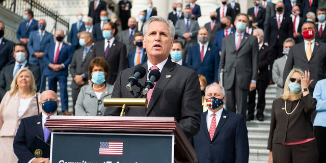 UNITED STATES - SEPTEMBER 15: House Minority Leader Kevin McCarthy, R-Calif., along with House Republicans, conduct an event on the House steps of the Capitol to announce the Commitment to America, agenda on Tuesday, September 15, 2020. The plan outlines ways to restore our way of life, rebuild the greatest economy in history, and renew the American dream. (Photo By Tom Williams/CQ-Roll Call, Inc via Getty Images)