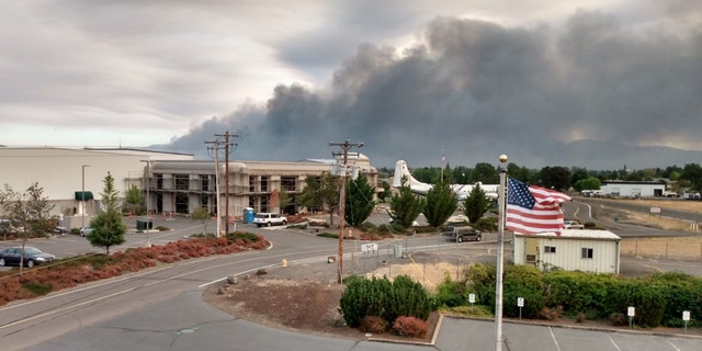 Smoke from wildfires near Medford, Ore. on Tuesday, Sept. 8, 2020.